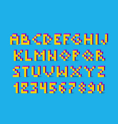 color pixel look retro video game font 80 s retro vector image