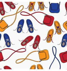 Colourful array of shoes and handbags vector image