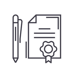 contract with pen linear icon sign symbol vector image