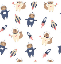Cosmic seamless pattern with cute foxes sloths vector