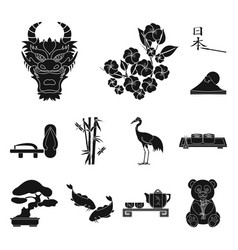 Country japan black icons in set collection for vector