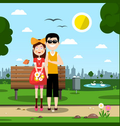 couple in love in city park vector image