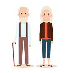 cute grandparents couple characters vector image
