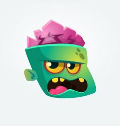cute happy zombie head cartoon character vector image