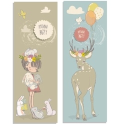 Cute little girl with hares and deer vector