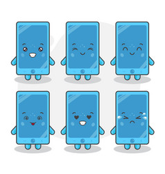 cute phone characters with various expression vector image