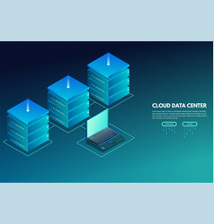 Data center isometric banner with laptop and vector