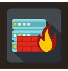 Database and firewall icon flat style vector image