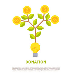 donation promotional emblem with money on tree vector image