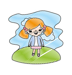 Doodle girl child with two tails in the landscape vector