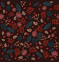 Doodle leafs plats flowers seamless pattern vector