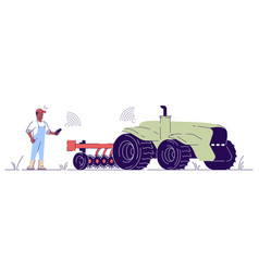 Driverless tractor with attachment flat vector