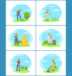 farming person digging land vector image