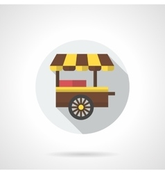Fast food cart flat color round icon vector