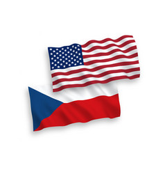 Flags czech republic and america on a white vector
