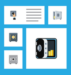 Flat icon closed set of locked saving banking vector