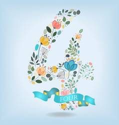 floral number four with blue ribbon vector image