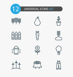 Gardening icons set collection of hang lamp wood vector