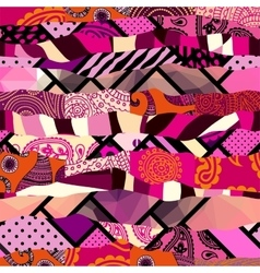 Geometric pattern in patchwork style vector
