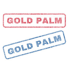 gold palm textile stamps vector image