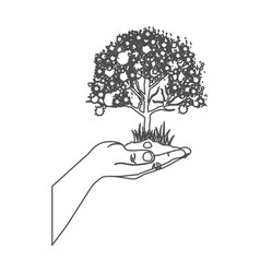 Grayscale contour with leafy tree over hand vector