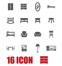 grey furniture icon set vector image