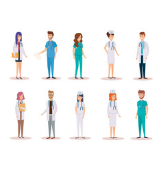 Group of doctors with nurse vector