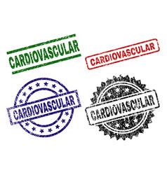 Grunge textured cardiovascular stamp seals vector