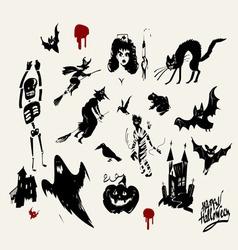 Halloween silhouette set vector