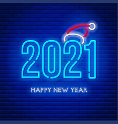 Happy new year 2021 neon lettering vector