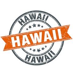Hawaii red round grunge vintage ribbon stamp vector
