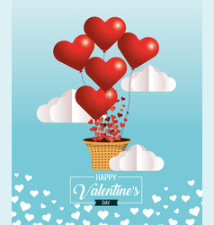 Hearts balloons with basket to celebrate valentine vector