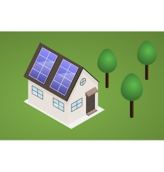 house with solar panels vector image