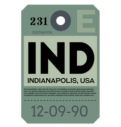 Indianapolis airport luggage tag vector