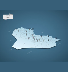 isometric 3d iraq map concept vector image