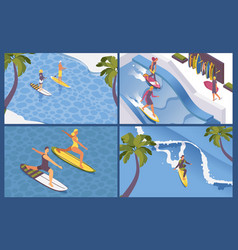 Isometric scenes for surf school long wave palms vector