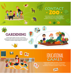 Kindergarten banners set vector