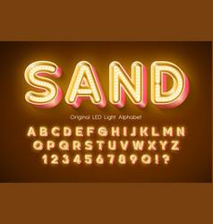 led light 3d alphabet extra glowing modern type vector image
