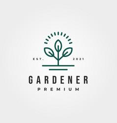 Line art gardener logo symbol design plant ant vector