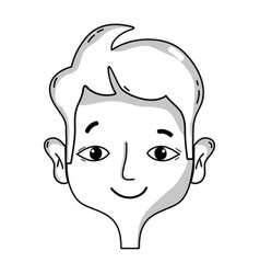 Line happy man head with hairstyle design vector