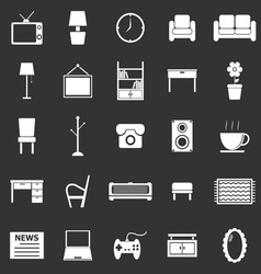 Living room icons on black background vector image