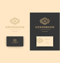 luxury logo monogram crest template design vector image