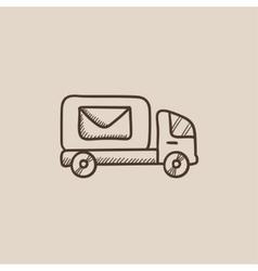 Mail van sketch icon vector image