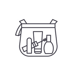 makeup bag line icon concept makeup bag vector image