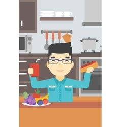 Man eating fast food vector