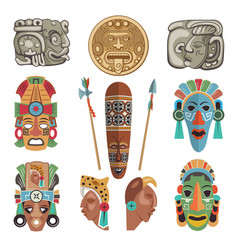 Mayan antique symbols and pictures vector