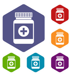medicine bottle icons set vector image