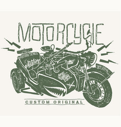 military motorcycle whith sidecar hand drawn vector image