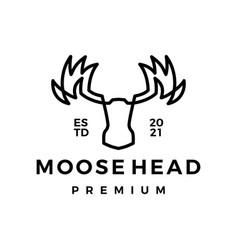 moose head monoline line art logo icon vector image