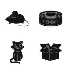 Mouse food in the bank sick cat cat in the box vector